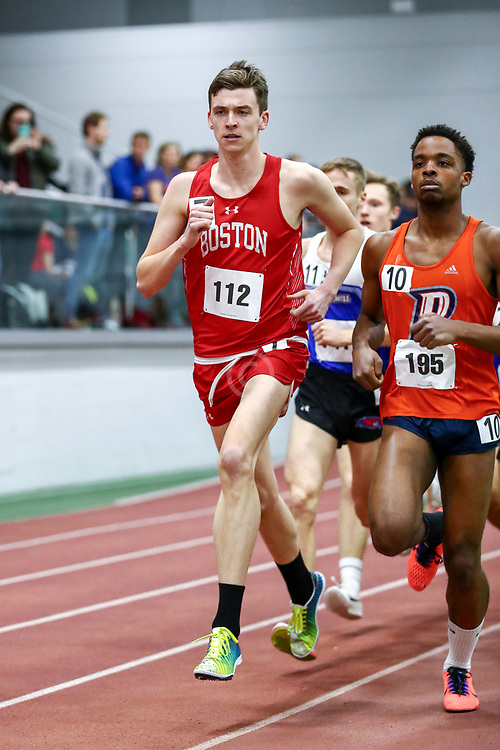 mens 3000 meters, BU, Zachary Prescott<br /> Boston University Scarlet and White<br /> Indoor Track & Field, Bruce LeHane