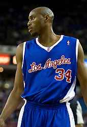 February 28, 2010; Sacramento, CA, USA;  Los Angeles Clippers forward Travis Outlaw (34) during the first quarter against the Sacramento Kings at the ARCO Arena.  Sacramento defeated Los Angeles 97-92.