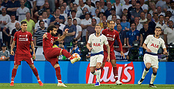 MADRID, SPAIN - SATURDAY, JUNE 1, 2019: Liverpool's Mohamed Salah shoots during the UEFA Champions League Final match between Tottenham Hotspur FC and Liverpool FC at the Estadio Metropolitano. (Pic by David Rawcliffe/Propaganda)