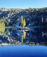 I got this cool mirror image of this pine tree island reflecting in a blue lake in the Sierra Nevada Mountains.