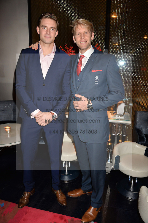LONDON, ENGLAND 8 DECEMBER 2016: Peter Reed, Andrew Hodge at the Omega Constellation Globemaster Dinner at Marcus, The Berkeley Hotel, Wilton Place, London England. 8 December 2016.