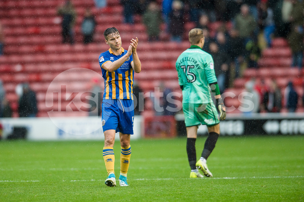 Mat Sadler of Shrewsbury Town thanks the travelling supporters at the end of the EFL Sky Bet League 1 match between Walsall and Shrewsbury Town at the Banks's Stadium, Walsall, England on 7 October 2017. Photo by Darren Musgrove.