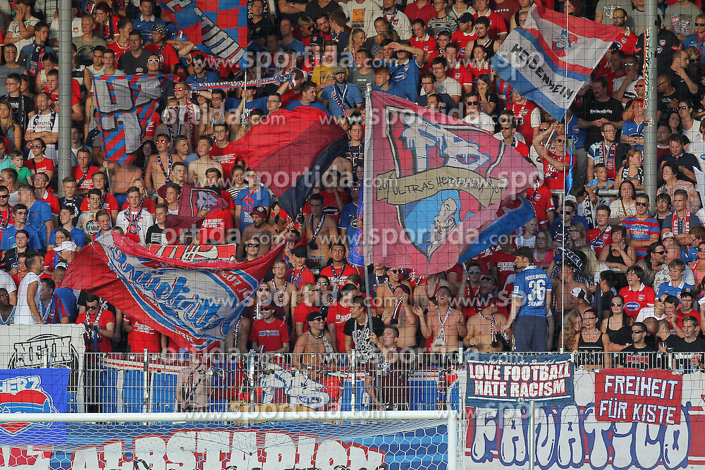 28.08.2015, Voith Arena, Heidenheim, GER, 2. FBL, 1. FC Heidenheim vs 1. FC Kaiserslautern, 5. Runde, im Bild Heidenheimer Fans // during the 2nd German Bundesliga 5th round match between 1. FC Union Berlin and RB Leipzig at the Voith Arena in Heidenheim, Germany on 2015/08/28. EXPA Pictures &copy; 2015, PhotoCredit: EXPA/ Eibner-Pressefoto/ Langer<br /> <br /> *****ATTENTION - OUT of GER*****