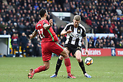 Notts County forward Jonathan Stead (30) battles with Swansea City defender Kyle Bartley (27) during the The FA Cup 4th round match between Notts County and Swansea City at Meadow Lane, Nottingham, England on 27 January 2018. Photo by Jon Hobley.