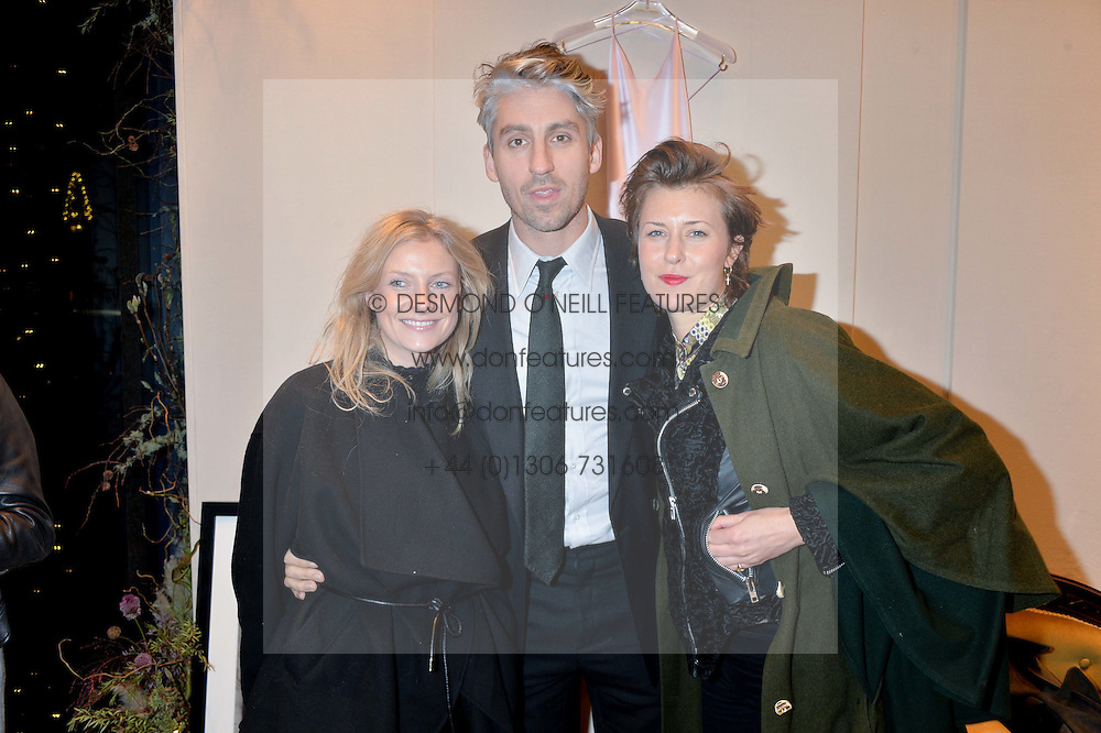 Left to right, GAYLE NOONAN, GEORGE LAMB and TATJANA VON STEIN at a party to celebrate the launch of Olivia von Halle, 151 Sloane Street, London on 25thNovember 2015