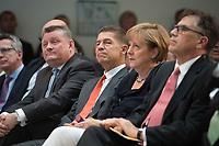 """17 JUL 2014, BERLIN/GERMANY:<br /> Hermann Groehe, CDU, Bundesgesundheitsminister, Joachim Sauer, Ehemann von Angela Merkel, Angela Merkel, CDU, Bundeskanzlerin, Prof. Dr. Juergen Osterhammel, Professor fuer Neuere und Neuste Geschichte an der Universität Konstanz, (v.L.n.R.), waehrend dem """"Berliner Gespraech spezial"""" der CDU, anlaesslich des 60. Geburtstags von Angela Merkel, Konrad-Adenauer-Haus<br /> IMAGE: 20140717-01-017<br /> KEYWORDS: Harmann Gröhe, Jürgen Osterhammel,"""