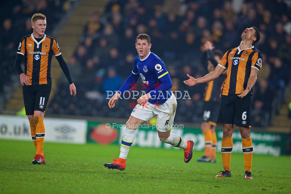 KINGSTON-UPON-HULL, ENGLAND - Friday, December 30, 2016: Everton's Ross Barkley celebrates scoring the second goal against Hull City, to equalise the score at 2-2, during the FA Premier League match at the KCOM Stadium. (Pic by David Rawcliffe/Propaganda)