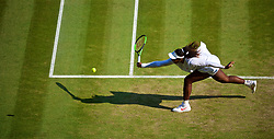 LONDON, ENGLAND - Friday, July 6, 2018: Serena Williams (USA) during the Ladies' Singles 3rd Round match on day five of the Wimbledon Lawn Tennis Championships at the All England Lawn Tennis and Croquet Club. (Pic by Kirsten Holst/Propaganda)