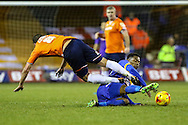 Andy Drury of Luton Town is tackled by Jean-Louis Akpa Akpro of Shrewsbury Town during the Sky Bet League 2 match at Kenilworth Road, Luton<br /> Picture by David Horn/Focus Images Ltd +44 7545 970036<br /> 08/01/2015