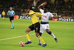 Dortmund's Abdou Diallo battling Tottenham's Serge Aurier during Champions League round of 16, leg 2 of 2, Dortmund vs Tottenham football match iat BVB Stadion, Dortmund, Germany on March 5, 2019. Dortmund won 3-1. Photo by Henri Szwarc/ABACAPRESS.COM
