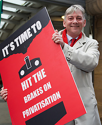 Scottish Labour leader Richard Leonard at rally at Edinburgh Waverley station to demand ScotRail is brought back into public ownership. Pic copyright Terry Murden @edinburghelitemedia