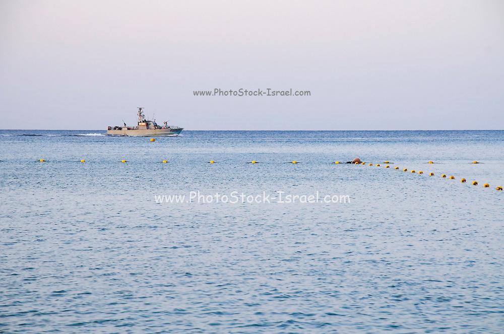Israel, Eilat, Israeli navy Dabur class patrol boat in the Red Sea