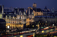 France. Paris. elevated view. Seine river, city hall,  view from the Conciergerie Bell tower