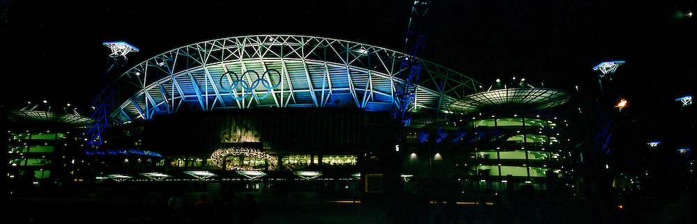 A panoramic night shot of the Olympic Stadium during the 2000 Sydney Olympics...Panoramic images from the Sydney Olympic Games, Sydney, Australia.  2000 . Photo Tim Clayton