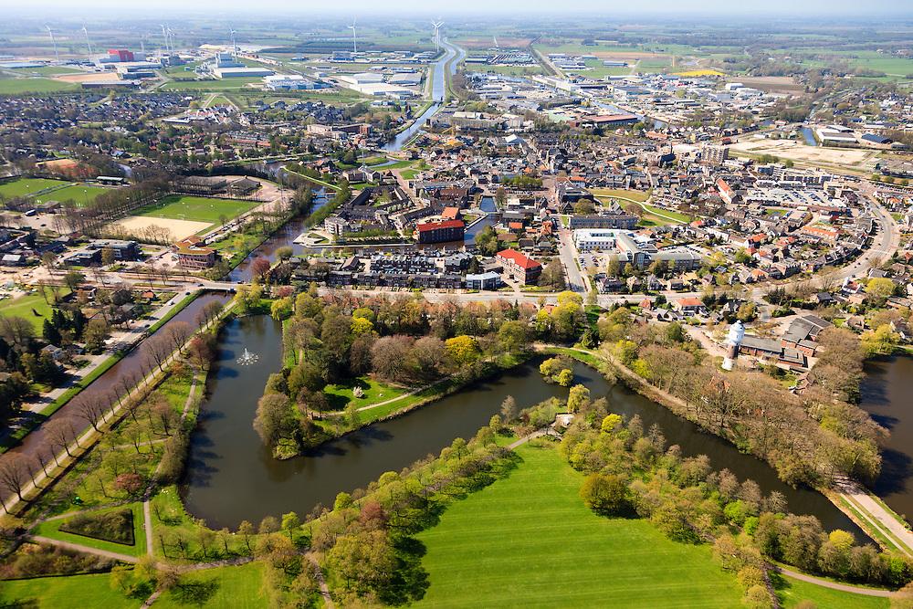 Nederland, Drenthe, Coevorden, 01-05-2013; overzicht noordelijk gedeelte van de stad met watertoren op bastion in de voorgrond. Links Stieltjeskanaal overgaand in Coevorden-Vechtkanaal.<br /> Coevorden, provincial city near German border (East Holland).<br /> luchtfoto (toeslag op standard tarieven);<br /> aerial photo (additional fee required);<br /> copyright foto/photo Siebe Swart
