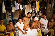 Members of the Mara 18 gang incarcerated in Izalco men's prison in El Salvador.