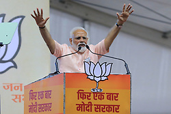 May 1, 2019 - Jaipur, Rajasthan, India - Prime Minister Narendra Modi addressing the election rally for the upcoming Lok Sabha polls in Jaipur,Rajasthan, India on May 01,2019. (Credit Image: © Vishal Bhatnagar/NurPhoto via ZUMA Press)