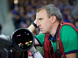 LILLE, FRANCE - Thursday, October 23, 2014: Press Association photographer Peter Byrne during the UEFA Europa League Group H match between Lille OSC and Everton at Stade Pierre-Mauroy. (Pic by David Rawcliffe/Propaganda)