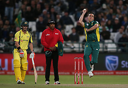 Kyle Abbott of South Africa sends down a delivery during the 5th ODI match between South Africa and Australia held at Newlands Stadium in Cape Town, South Africa on the 12th October  2016<br /> <br /> Photo by: Shaun Roy/ RealTime Images