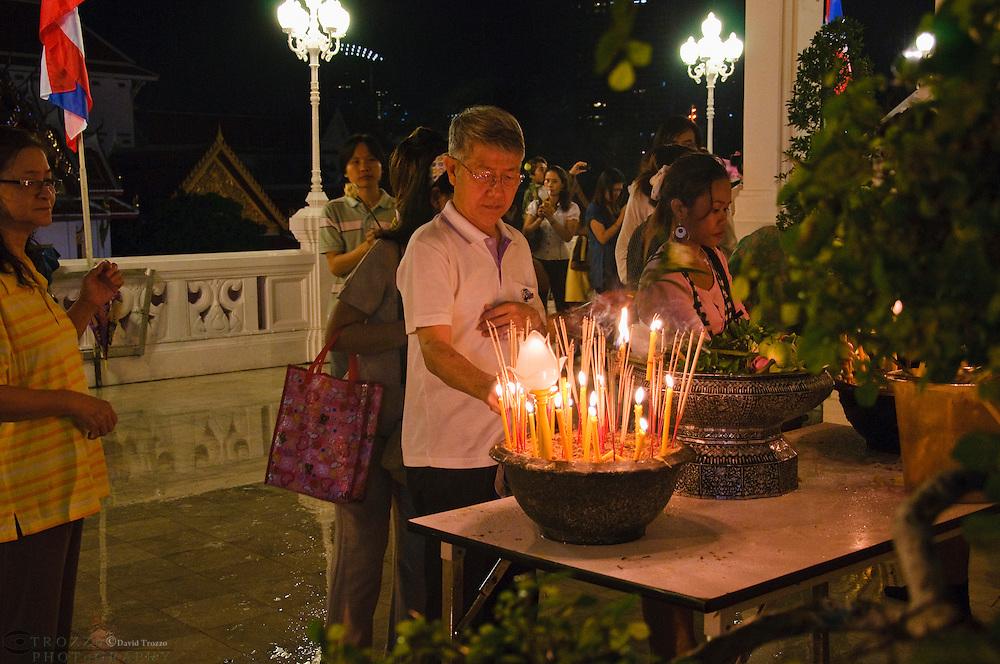 Asalha Puja Holiday, Buddha Day, Temple Wat Yan Nawa, Bangkok Thailand.
