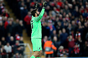 Liverpool goalkeeper Alisson Becker (13) during the Champions League Quarter-Final Leg 1 of 2 match between Liverpool and FC Porto at Anfield, Liverpool, England on 9 April 2019.