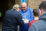 Bradford City Manager Stuart McCall giving autographs to fans as the Bradford City FC team coach turns up during the EFL Sky Bet League 1 match between Gillingham and Bradford City at the MEMS Priestfield Stadium, Gillingham, England on 12 August 2017. Photo by Andy Walter.