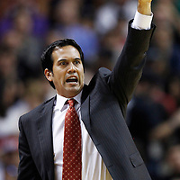 24 January 2012: Miami Heat head coach Erik Spoelstra calls a play during the Miami Heat 92-85 victory over the Cleveland Cavaliers at the AmericanAirlines Arena, Miami, Florida, USA.