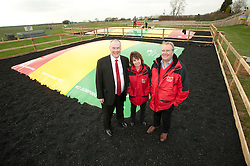 Pictured is, from left, Clydesdale Bank commercial relationship manager Michael Pickles and Rand Farm Park owners Kay and Richard Waring. They are next to the Kangaroo Bouncers, which Clydesdale Bank have helped Rand Farm Park finance.<br /> <br /> Clydesdale Bank - Rand Farm Park<br /> <br /> March 27, 2015