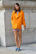 Carven Look in Orange and Blue, Outside the Show SS2015