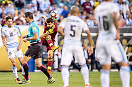 Venezuelan captain Tomas Rincon launches a cross from the midfield over Uruguayan defenders during a group stage match of the Copa America Centenario played at Lincoln Financial Field in Philadelphia, Penn., on Friday June 9, 2016.