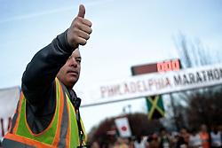 Phila Marathon, Philadelphia US PA - November 20 2011, 7:05am; Thumbs up by a race official.