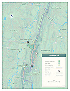 Vector map illustration of the Metacomet Trail in Connecticut. The map shows the points of interest, Connecticut State parks, and access points. The Metacomet Trail is a 62.7-mile (100.9 km) Blue-Blazed hiking trail that traverses the Metacomet Ridge of central Connecticut and is a part of the newly designated 'New England National Scenic Trail'.