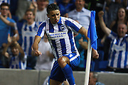 Brighton & Hove Albion winger Anthony Knockaert celebrates his goal at 1-0 during the EFL Sky Bet Championship match between Brighton and Hove Albion and Huddersfield Town at the American Express Community Stadium, Brighton and Hove, England on 13 September 2016. Photo by Bennett Dean.