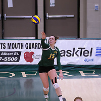 5th year outside hitter Jenna Krahn (15) of the Regina Cougars in action during Women's Volleyball home game on November 19 at Centre for Kinesiology, Health and Sport. Credit: Arthur Ward/Arthur Images