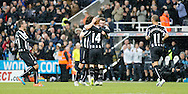 Jack Colback (14) of Newcastle United is congratulated on scoring their second during the Barclays Premier League match at St. James's Park, Newcastle<br /> Picture by Simon Moore/Focus Images Ltd 07807 671782<br /> 01/01/2015