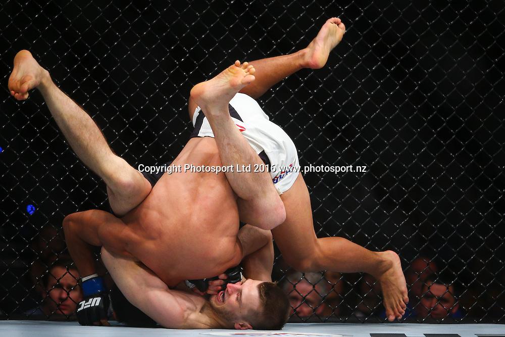 Daniel Hooker v Mark Eddiva, UFC Featherweight, Brisbane Entertainment Centre, Brisbane, Australia. 20 March 2016. Copyright Image: Patrick Hamilton / www.photosport.nz