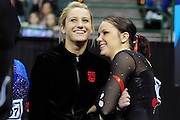 University of Utah freshman Mary Beth Lofgren, left, and junior Stephanie McAllister, right, share a laugh before their events at the 2011 Women's NCAA Gymnastics Championship Individual Event Finals on April 17, in Cleveland, OH. (photo/Jason Miller)