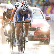 Olga Zabelinskaya of Russia leads out Marianne Vos of the Netherlands and Lizzie Armistead of Great Britain during the final kilometre of the London 2012 Woman's Olympic Road Race. Vos would go on to win to gold over Armistead in the sprint with Zabelinskaya finishing third. July 29, 2012.<br /> <br /> Picture by Jack Megaw | www.jackmegaw.com<br /> +44 7481 764811<br /> jack@jackmegaw.com<br /> 29/07/2012