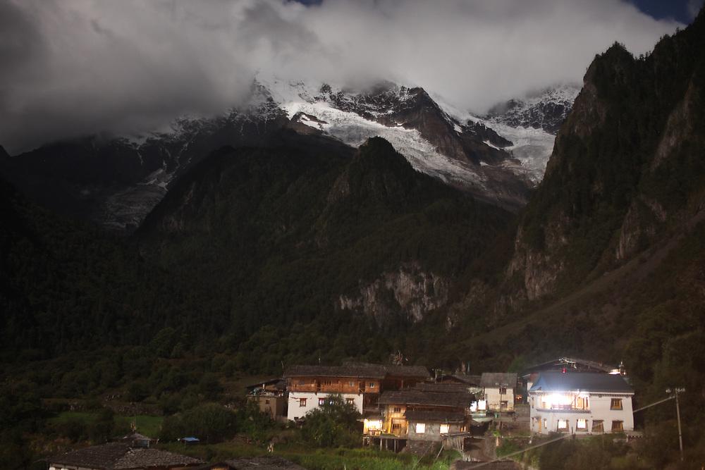 Moonlight on Yubeng village, Yunnan, China; September, 2013.