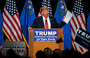 Republican Presidential candidate Donald Trump tells the crowd about new polling numbers in his favor during another rally, this time at South Point Hotel, Casino and Spa in Las Vegas on Thursday, January 21, 2016. L.E. Baskow