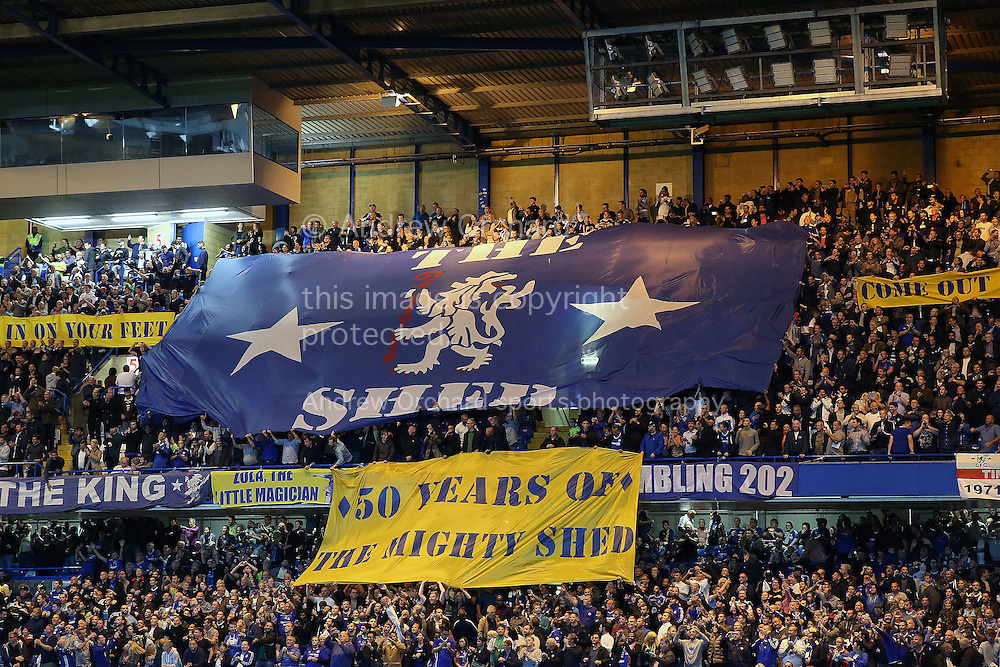 a Banner celebrating 50 years of the Shed end stand before k/p. Premier league match, Chelsea v Liverpool at Stamford Bridge in London on Friday 16th September 2016.<br /> pic by John Patrick Fletcher, Andrew Orchard sports photography.