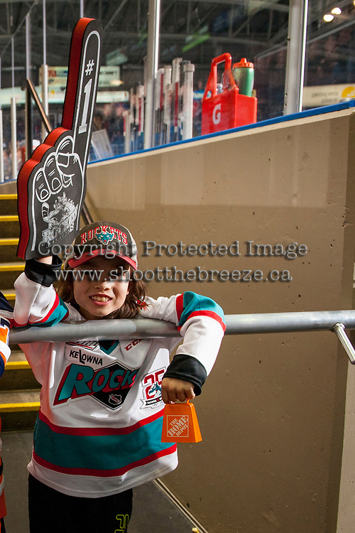 KELOWNA, CANADA - JANUARY 30: A fan stands at the Kelowna Rockets' turnel against the Medicine Hat Tigers on January 30, 2017 at Prospera Place in Kelowna, British Columbia, Canada.  (Photo by Marissa Baecker/Shoot the Breeze)  *** Local Caption ***