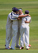 Jack A Brooks (Yorkshire CCC) celebrates with team mates after taking the last (Durham County Cricket Club) wicket Chris Rushworth  to win the match,  LV County Championship Div 1 match between Durham County Cricket Club and Yorkshire County Cricket Club at the Emirates Durham ICG Ground, Chester-le-Street, United Kingdom on 1 July 2015. Photo by George Ledger.