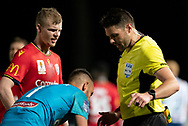 GOSFORD, AUSTRALIA - OCTOBER 02: Adelaide United defender Jordan Elsey (23) and Central Coast Mariners goalkeeper Mark Birighitti (1) talk to the referee during the FFA Cup Semi-final football match between Central Coast Mariners and Adelaide United on October 02, 2019 at Central Coast Stadium in Gosford, Australia. (Photo by Speed Media/Icon Sportswire)