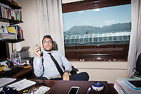 """PALERMO, ITALY - 7 JUNE 2016: Geri Ferrara, Deputy Prosecutor of Palermo in DDA (Direzione Distrettuale Antimafia, or Antimafia Directorate), is interviewed here in his office in the courthouse of Palermo, Italy, on June 7th 2016.<br /> <br /> Between January 2014 e December 2015 more than 120 tons of hashish, carried on fishing boats or cargo ships from Morocco to Libya, were seized in the Strait of Sicily by Italy's Guardia di Finanza (Financial Police) thanks to an international police investigation named """"Operazione Libeccio"""", carried out by the GICO (Gruppo Investigativo Criminalità Organizzata, Organised Crime Investigation Group), a unit of the tax police of Palermo under the supervision of the DDA (Direzione Distrettuale Antimafia) of Palermo.<br /> <br /> """"What is happening in Libya is same historical occurrence that happened years ago in Afghanistan. Such as the Talibans who financed their terroristic activities with heroin trafficking for the purchase of weapons, the Caliphate is proposing the same terroristic strategy by purchasing and commercialising hashish in order to purchase weapons used in their war"""" Sergio Barbera, Deputy General Prosecutor of Palermo, said."""