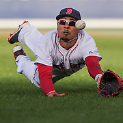 BOSTON, MA - SEPTEMBER 26: Mookie Betts #50 of the Boston Red Sox dives in an attempt to catch a ball hit by J.J. Hardy #2 of the Baltimore Orioles in the fifth inning at Fenway Park on September 26, 2015 in Boston, Massachusetts. (Photo by Michael Ivins/Boston Red Sox/Getty Images) *** Local Caption *** Mookie Betts