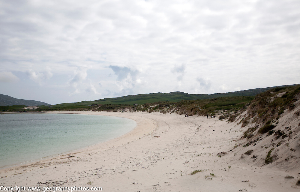 Sandy beach and sand dunes, Vatersay Bay, Barra, Outer Hebrides, Scotland, UK