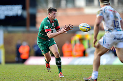 Freddie Burns of Leicester Tigers receives the ball - Photo mandatory by-line: Patrick Khachfe/JMP - Mobile: 07966 386802 28/03/2015 - SPORT - RUGBY UNION - Leicester - Welford Road - Leicester Tigers v Exeter Chiefs - Aviva Premiership