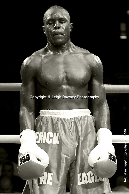 Erick Ochieng exhausted after defeating Matt Scriven at the Brentwood Centre UK on 11th September 2009 Promoter Frank Maloney. Credit: ©Leigh Dawney Photography