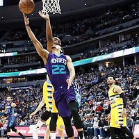 04 March 2017: Charlotte Hornets guard Brian Roberts (22) goes for the layup past Denver Nuggets forward Darrell Arthur (00) during the Charlotte Hornets 112-102 victory over the Denver Nuggets, at the Pepsi Center, Denver, Colorado, USA.